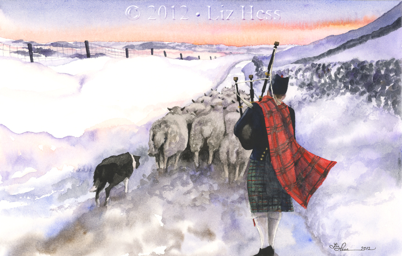 Northern Scottish Bagpiper