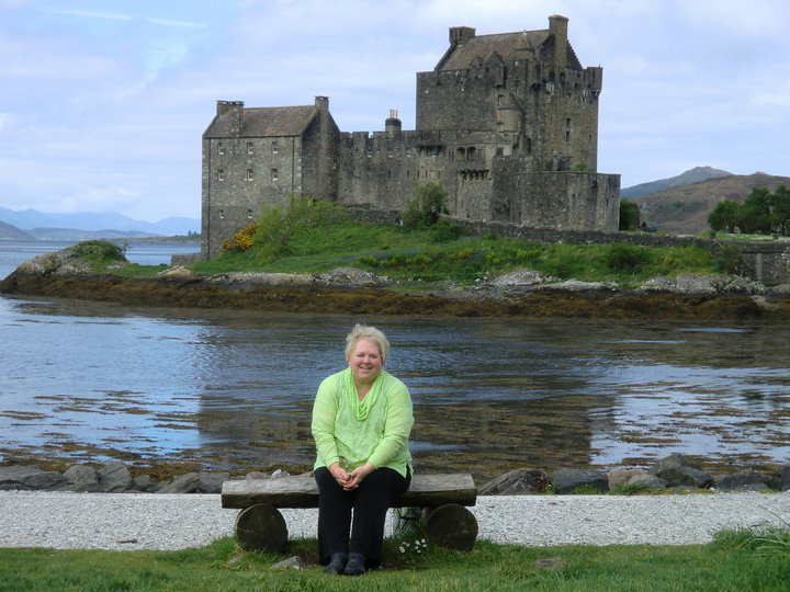 In font of Scottish Castle on painting trip.
